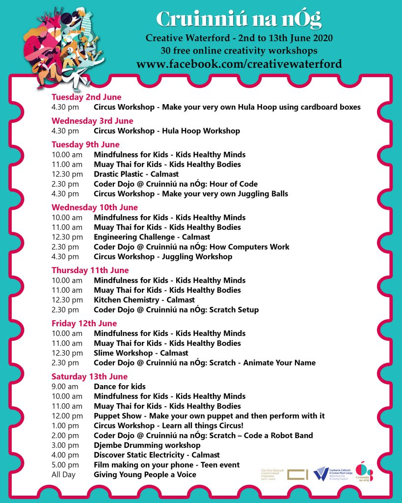 Creative Waterford Cruinniú na nÓg programme of events
